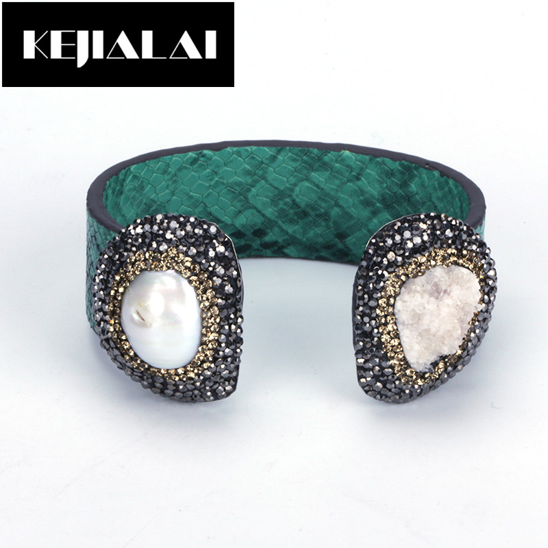 KEJIALAI Boho Punk Bangle Cuff Two Gems Natural Leather Wrap High Quality Leather Bangle Fresh Water Pearl with Rhinestone Gift