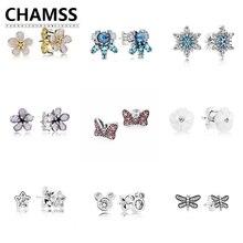 CHAMSS 100% Echt 925 Sterling Silber PANDORAS Gel Matt Glitter Ohrringe Kleine Ohrringe Tier Ohrringe Schmuck Geschenke