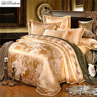Moodcome Satin Luxury Silk Bedding Sets 4 6PCS Jacquard Cotton Bed Linens Bed Sheet Duvet Cover