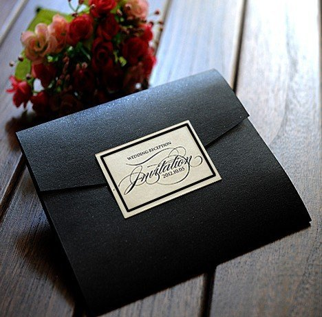 Black Pocket Custom Wedding Invitations With RSVP Cards Birthday Party Birdal Shower Marriage And Gradustion Greeting