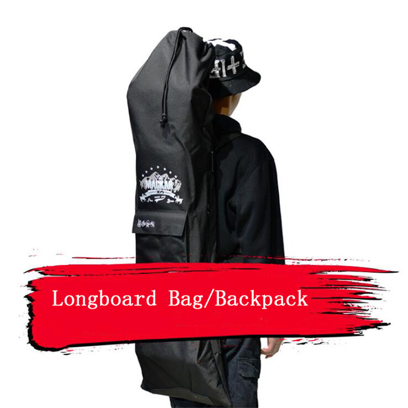 High Quality Longboard Backpack 128x37cm Double Rocker Skateboard Bag Black Dance Board Bag Shouler Drawstring