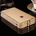 FLOVEME Блестящий Горный Хрусталь Бампер Для iPhone 6 Plus Дело Блеск алюминиевый Корпус для iPhone 6 6 s Металла Алмаз Мобильный Телефон случаях