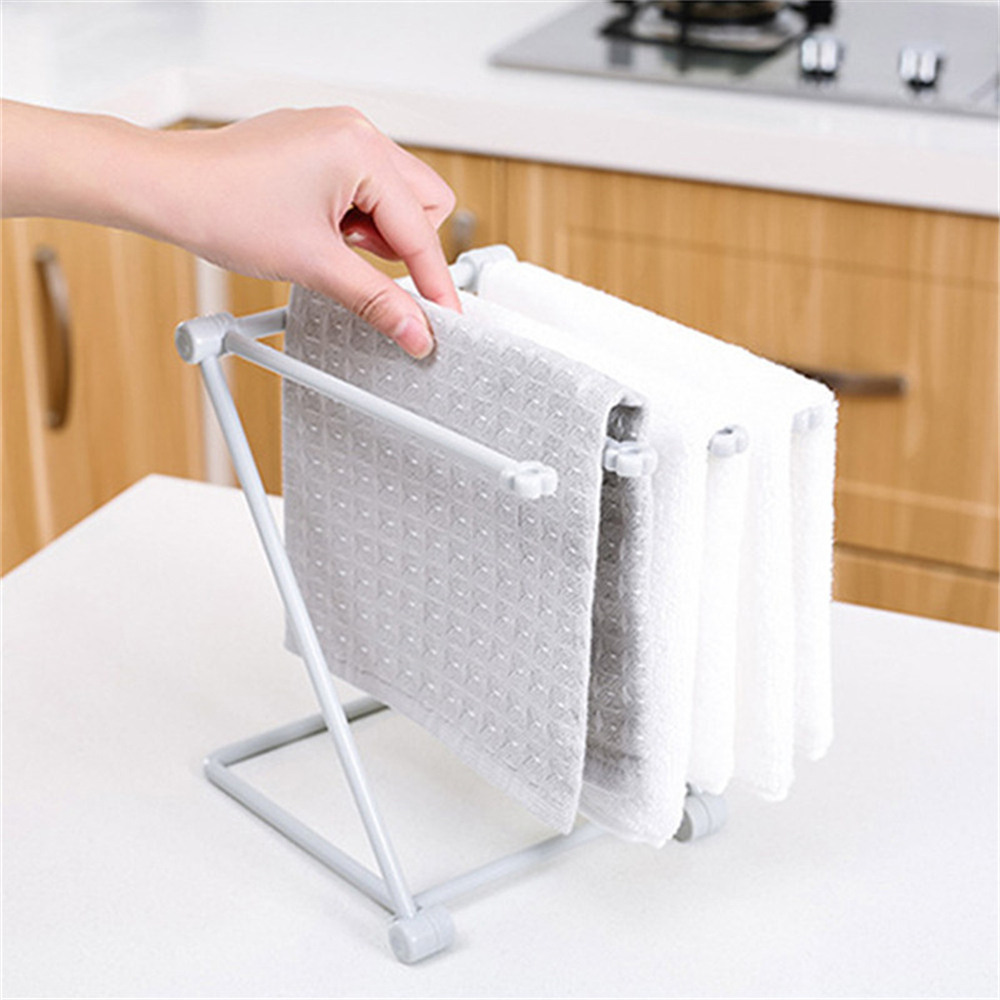 Foldable Vertical Rags Kitchen Towels Hanger Table Storage Rack Cup Holder Racks Kitchen Home Organization Dropshipping