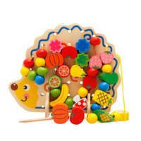 Wooden Fruit Vegetable Lacing Stringing Beads Toys with Hedgehog Board Children Montessori Educational Toy Gift for Kids UJ1287H