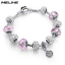 2016925 Silver Pink Beads Bracelets For Women 2016 Vintage Heart Pendant Charm Bracelet With Crystal Summer Jewelry SBR160080 pink crystal charm bracelet silver beads women bracelets bangles 2016 vintage jewelry sbr160296