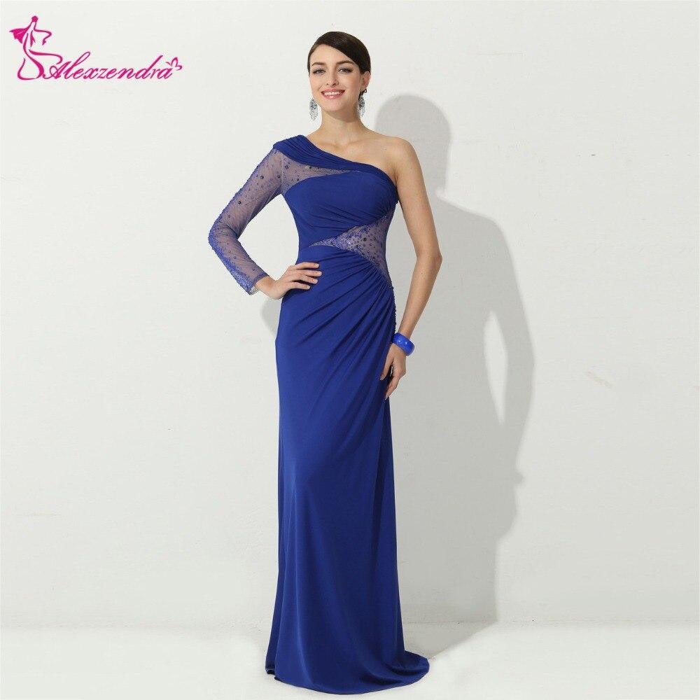 Alexzendra bleu perlé en mousseline de soie robes de bal 2018 avec une manches Illusion dos longue formelle robe de soirée robes de soirée