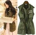 2014 Новый Осень Жилет женщин Army Green рукавов карманы куртки случайный погон молния U. S. ARMY Logo Сафари куртка Бесплатная Доставка