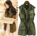 2014 New Autumn Vest women Army Green sleeveless pockets jackets casual epaulet zipper U.S.ARMY Logo Safari Jacket Free Shipping