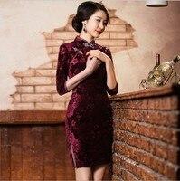 2 Style Sexy Wholesale Gorgeous Silk Velvet Chinese Vintage Silm Women Cheongsams Delicate Handmade Qipao Unique