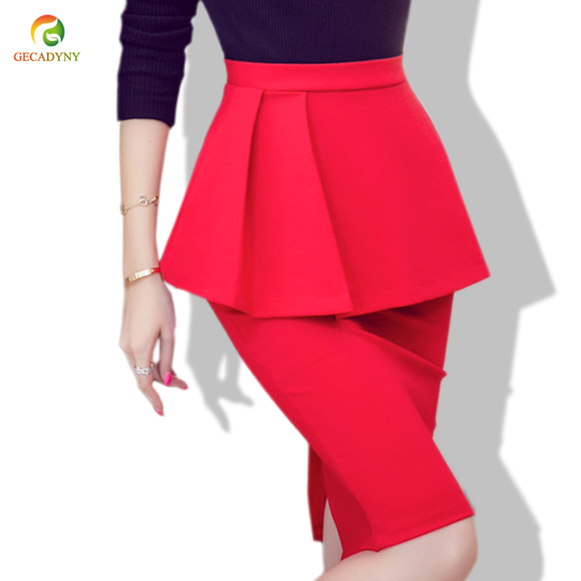 dc13e1771c092b 2018 European Style New Hot Sale Trumpet Skirt Women Vintage Slim Sexy Pencil  Skirt Female Black Red Bodycon Skirts Women S-5XL