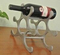 Cast Aluminium Alloy Wine Rack Modern Art Decor Hold 6 Bottles Silver Polished Metal Wine Bottle