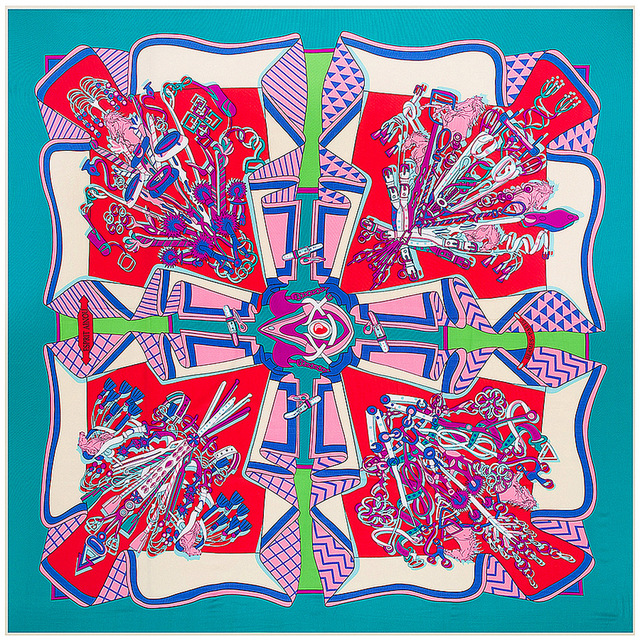 Super Large Twill Silk Women Scarf 130*130 Euro Geometric Accessories Print Square Scarves High Quality Gift Fashion Silk Shawls