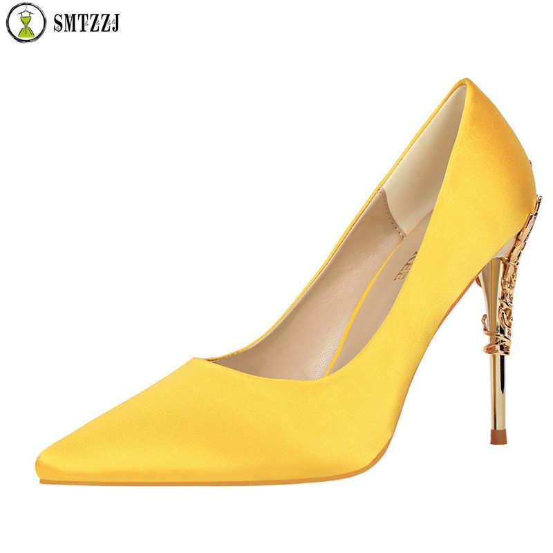 Pumps-Shoes Thin-Heels Satin Silk Elegant High-Spring Women Ladies Luxury Metal Design