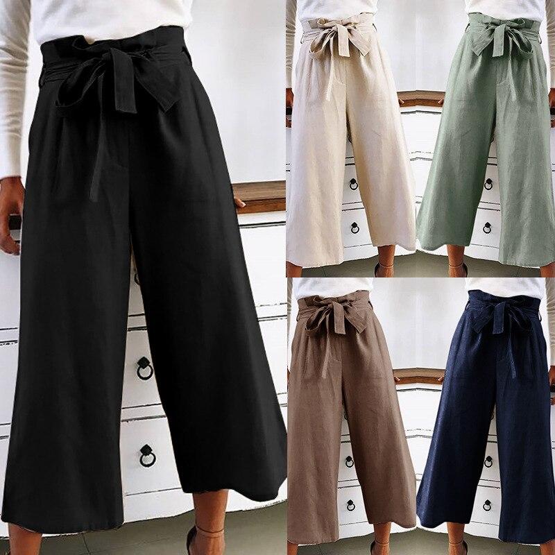 2019 New Women's Orange Wide-leg Pants Chiffon Pants High Waist Tie Front Trousers Palazzo OL Elegant Trousers Long Skirt Pants