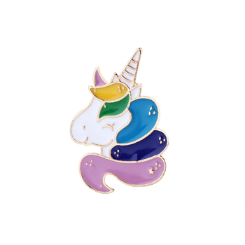 Fashion Cute Denim jacket Lapel Pins Buitful Unicorn Brooches Colorful Foal Enamel Brooch Best Gifts for Girls image