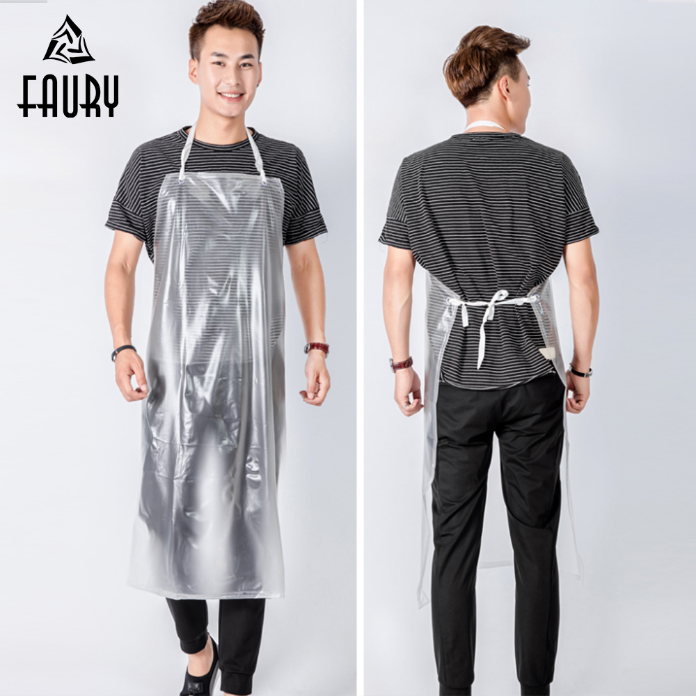 100pc//Pack Waterproof And Oil BarbecueTransparent Disposable Plastic Apron US