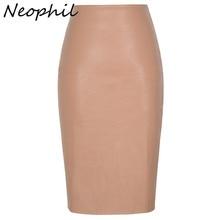 Neophil 2019 סקסי פו פרווה עור Pu Midi נשים עיפרון חצאיות גבוהה מותן שחור גבירותיי משרד לעטוף למתוח נהיגה לראשונה חצאית Femme saia S1102