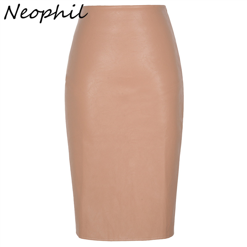 Neophil 2019 Sexy Faux Fur Leather Pu Midi Women Pencil Skirts High Waist Black Ladies Office Wrap Stretch Jupe Femme Saia S1102-in Skirts from Women's Clothing