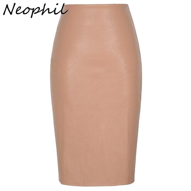 Neophil 2019 Sexy Faux Pelz Leder Pu Midi Frauen Bleistift Röcke Hohe Taille Schwarz Damen Büro Wrap Stretch Jupe Femme saia S1102