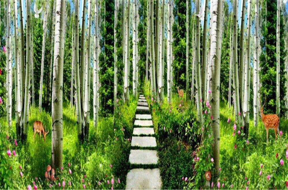 Aangepaste Gordijnen Groene Bamboe Kreek Water Pruim Herten 3d Landschap Gordijn Decoratie Indoor High End Beauty - 5