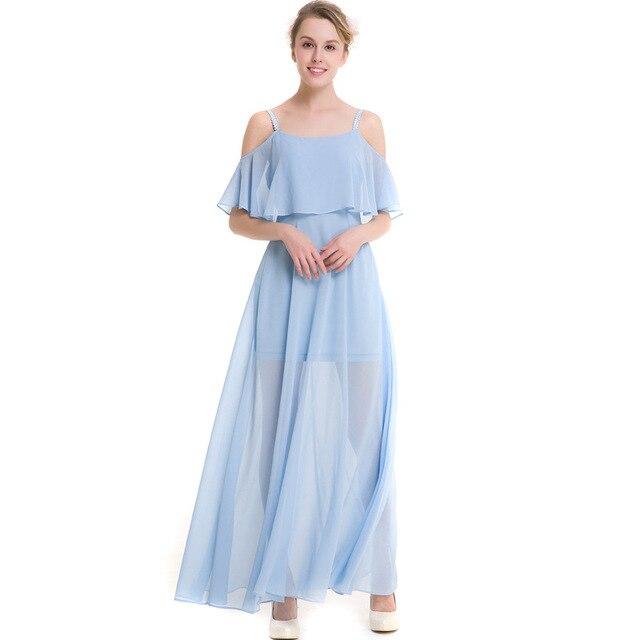 0857af88de22 Womens Summer Long Slip Dresses Ladies Beach Sky Blue White Spaghetti Strap  Cute Holliday Off Shoulder Chiffon Maxi Dress