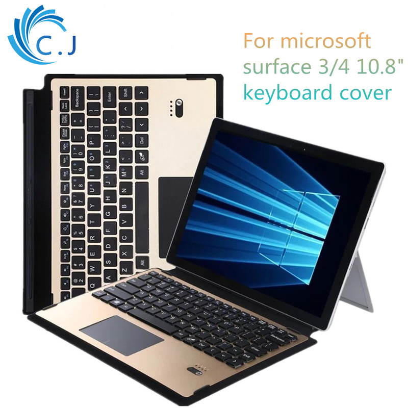 Ultra Slim Aluminum Alloy Wireless Bluetooth Keyboard PU Leather Cover Case for Microsoft Surface Pro 3/ Pro 4 Tablets PC ultra slim wireless aluminium keyboard bluetooth keyboard case for microsoft surface pro 3 pro 4 pro 5 detachable keyboard cover