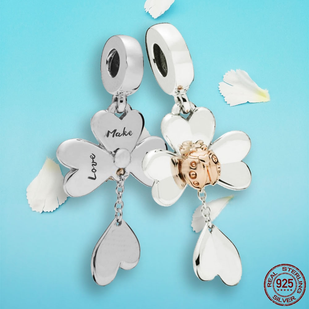 new 925 Sterling Silver beads Rose & Silver Clover & Ladybird Fit Original Pandora bracelet for woman DIY jewelrly or gift