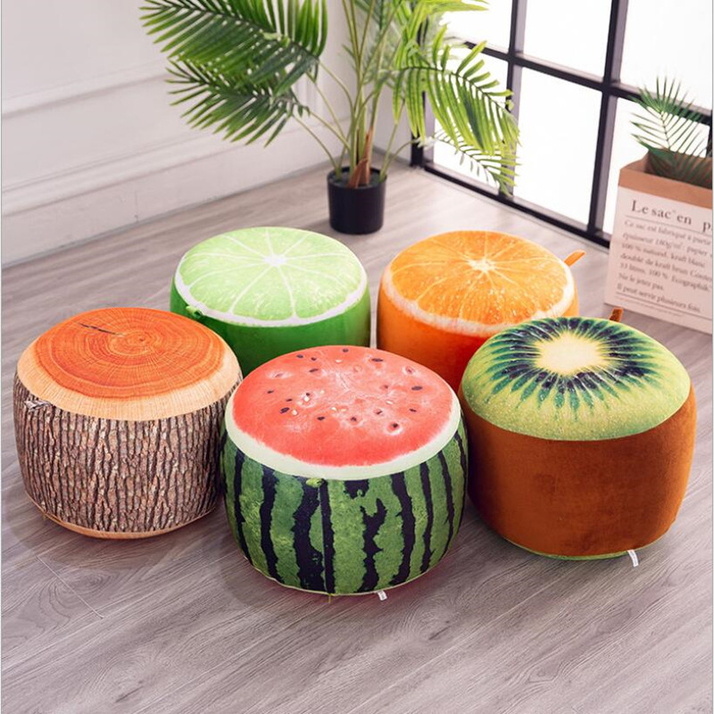 1pcs Inflatable Stool Thickening Cotton Cover Cartoon Plush 3D Fruit Inflatable Pouf Chair Lovely Pneumatic Stools Portable