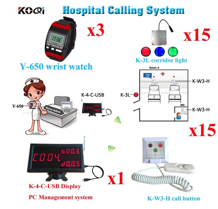 Drahtlose Rufsystem Medizinische Notfall Service Anruf 1 stücke K-4-C-USB 3 Uhr 15 Korridor Licht 15 stücke Aufrufen Taste