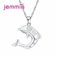 Jemmin White Fire Opal Necklace Pendant Women Sterling Silver 925 Jewelry Animal Dolphine Pendants Necklaces For Birthday Gift
