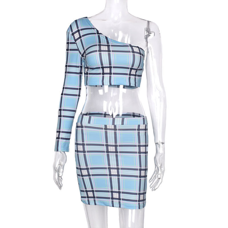 HTB1adOKa1H2gK0jSZFEq6AqMpXai - ANJAMANOR Plaid Print Sexy Two Piece Set One Shoulder Long Sleeve Crop Top Skirt Matching Sets Club Outfits Spring D0-AC72
