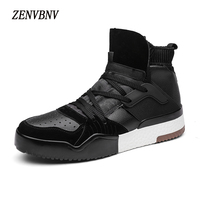 ZENVBNV 2017 Winter Autumn Fashion Lace Up Pu Leather Retro Shoes Men Flat High Heel Shoes