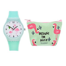 FUNIQUE Fashion Flamingo Silicone Strap Watches Clock Rubber Wristwatches Women Ladies Watch Wallet Set Quartz Montre Femme(China)