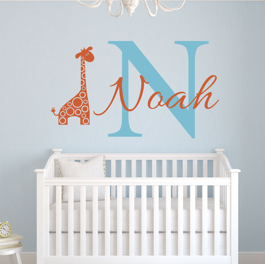 Nursery Wall Decor Custom Name Elephant Wall Stickers For Kids Room Personalized Boys