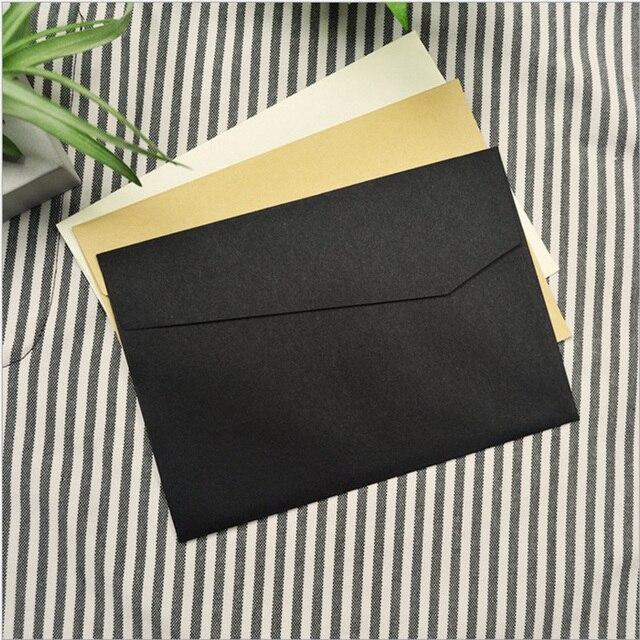 50pcs set vintage kraft blank mini paper window envelopes black
