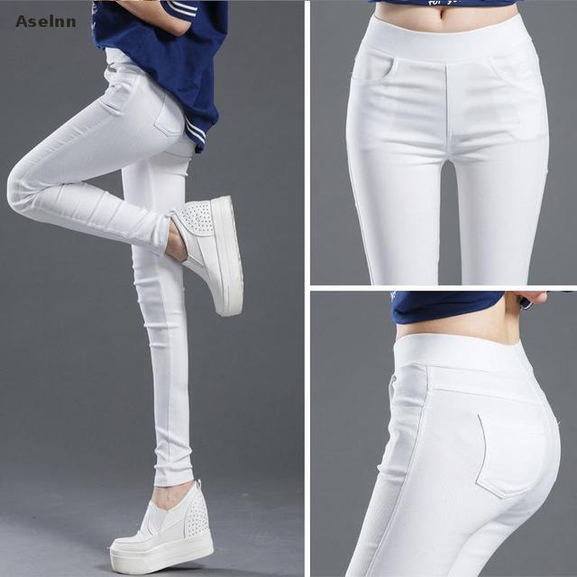 Aselnn 2019 Spring New Fashion Women Pencil Pants Casual Elastic Waist Skinny Trousers Plus Size Black White Stretch Pants