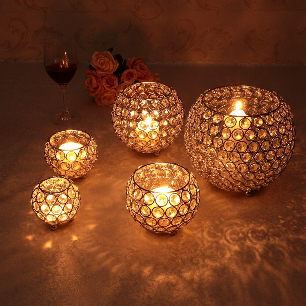 Small Wedding Decorations Crystal Bead Candle Holders Votive Holder Lighted Mercury Gl Votives