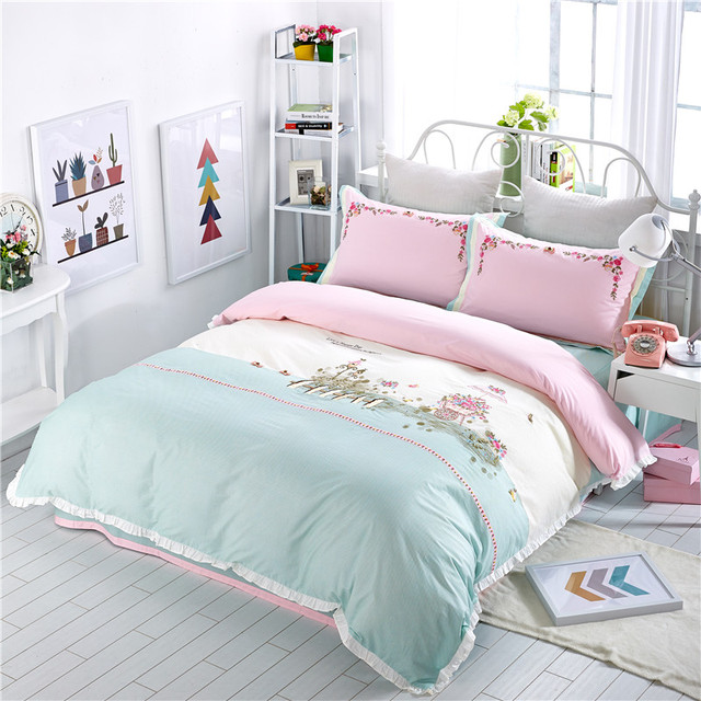 Delicieux 2017 Bedding Set Cotton Bed Sheets French Pastoral Embroidery Duvet Cover  Girls Flat Bedspread Sets Juegos