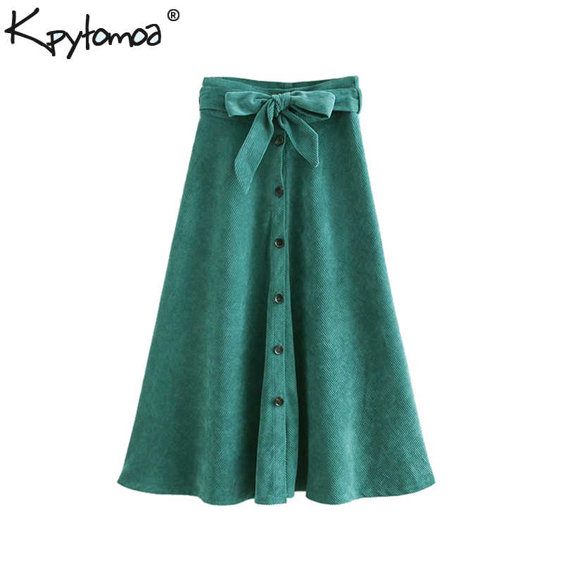 61e08591402 Vintage Chic With Belt Buttons Corduroy Midi Skirt Women 2018 Fashion A Line  Paperbag Waist Pleated