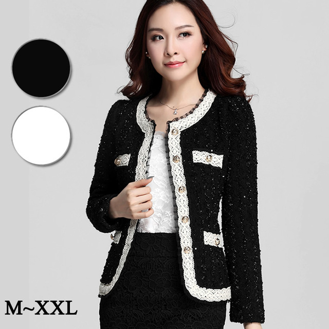 New Large size XXL Autumn Winter Woolen Jackets Blazer Women Coat Long  Sleeve Aristocratic Lace Splice Cardigans Woman Clothes 3f49bb264