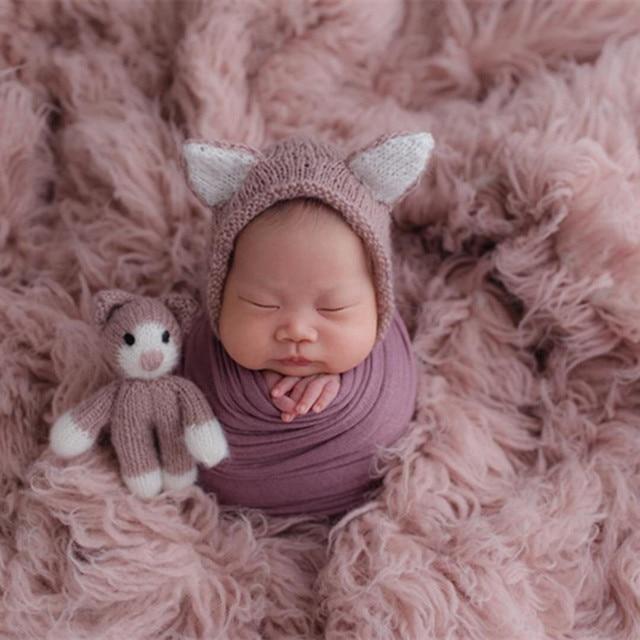 ライトピンクギリシャウール Flokati Natural Chunky カーリーウール毛布新生児ポーズ背景生地ヴィンテージ女の赤ちゃんの毛皮小道具