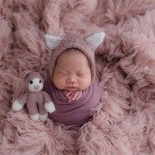 אור ורוד יוון צמר Flokati טבעי שמנמן מתולתל צמר שמיכת יילוד פוזות רקע בד בציר תינוקת פרווה אבזרי