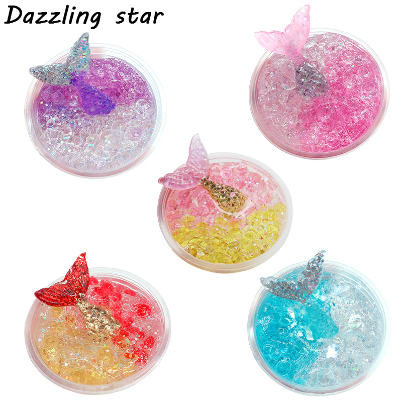 d87860566f21 60ml Dynamic crystal Slime plastic Fishtail crystal mud colorful Modeling  Polymer Clay Sand Plasticine Gum For Handmade Toy-in Modeling Clay from  Toys ...