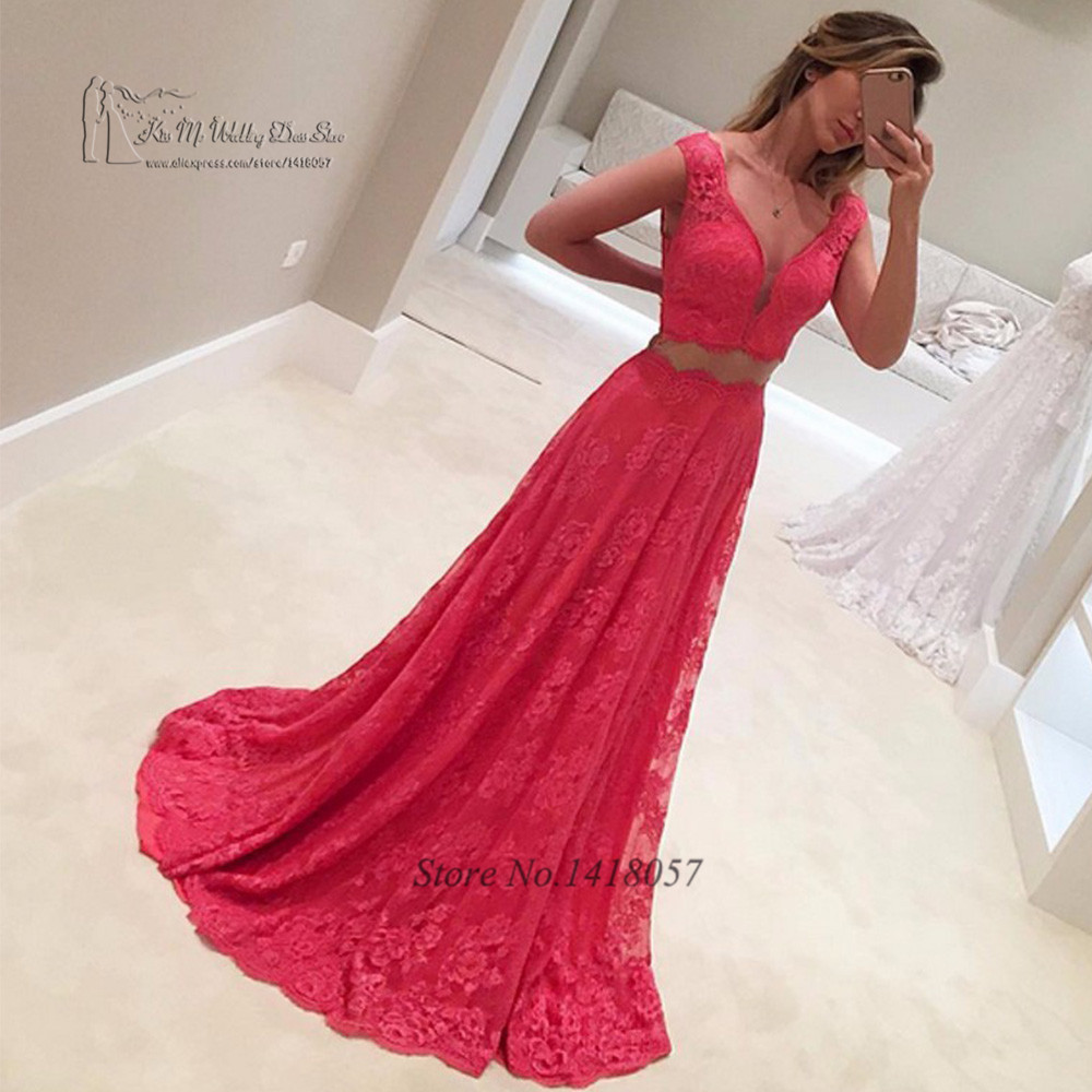 Red Lace Cheap 2 Piece   Prom     Dresses   2017 African Formal Long Evening Gowns Abendkleider Imported Party   Dress   Vestido de Gala