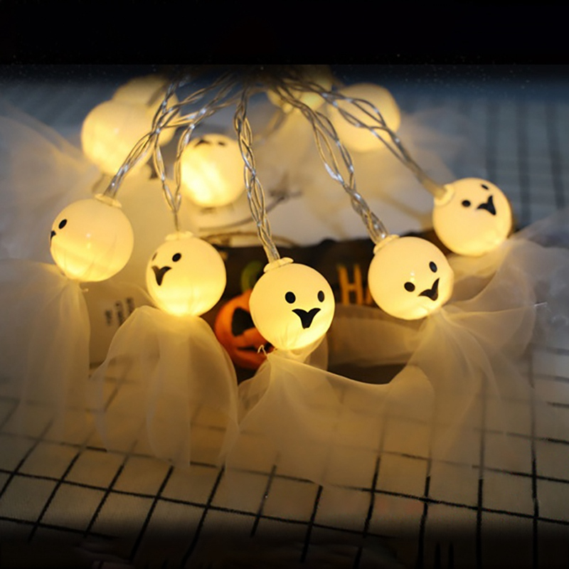 1 PC Halloween Decoration Lights LED DIY White Ghost String Lights Battery Operated For Halloween Home Party Decoration in Party DIY Decorations from Home Garden