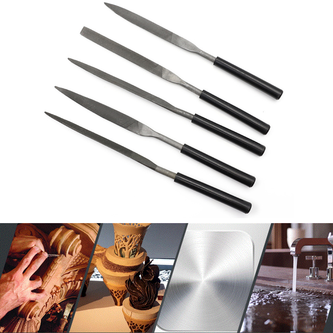 5pcs 140mm Needle Files Set Jeweler Diamond Carving Craft Tool Metal Glass Stone Black цены