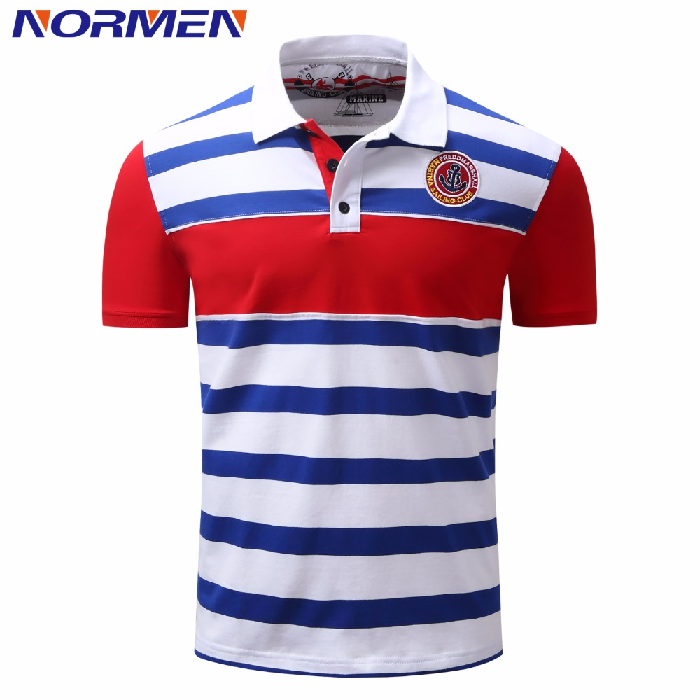 NORMEN Men's Casual Striped   Polo   Shirts Cotton Preppy Style Turn-Dwon Collar Short Sleeve Loose Shirt Men Fashion   Polos   Men