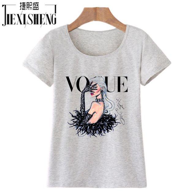 VOGUE Beauty 3d Print Cotton O-Neck