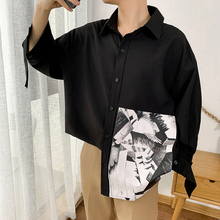 Мужская рубашка с рукавом три четверти и абстрактным принтом, платье 5xl, осень, хип-хоп Уличная Повседневная рубашка для мужчин CS26
