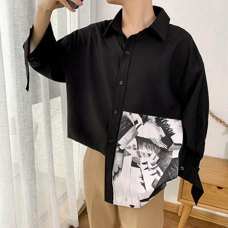 Men's Three Quarter Sleeve Abstract Painting Print Shirts Dress 5xl 2019 Autumn Hip Hop Streetwear Casual Shirt Men CS26